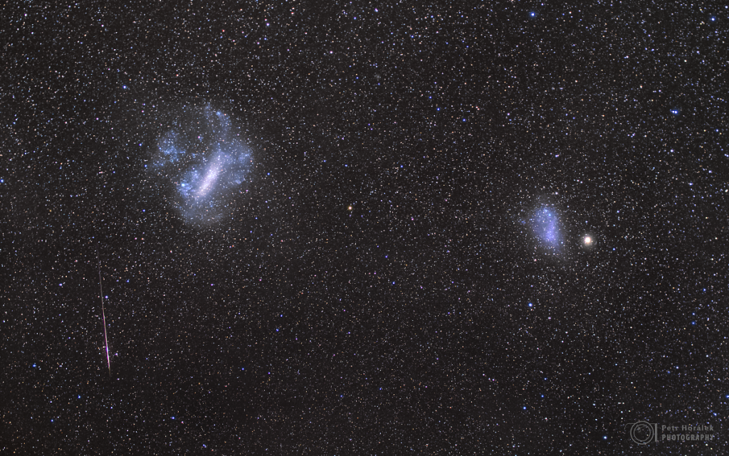 Magellanic clouds and meteor