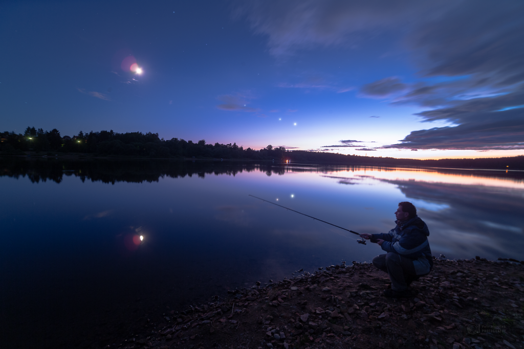Waiting for a night fish... with planets