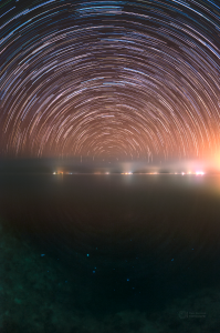 Startrails of north pole