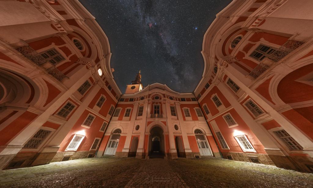 In the Broumov Monastery's courtyard