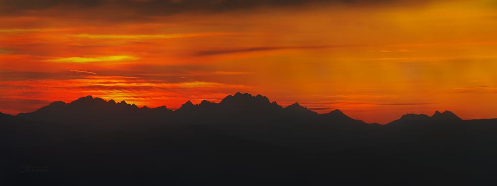 Distant High Tatras in dusk