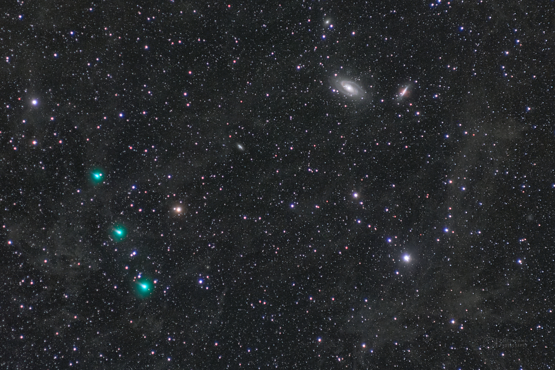 Comet ATLAS, galaxies and dust