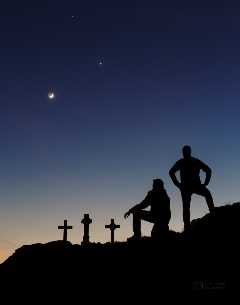 Celestial conjunction, Three crosses and friends
