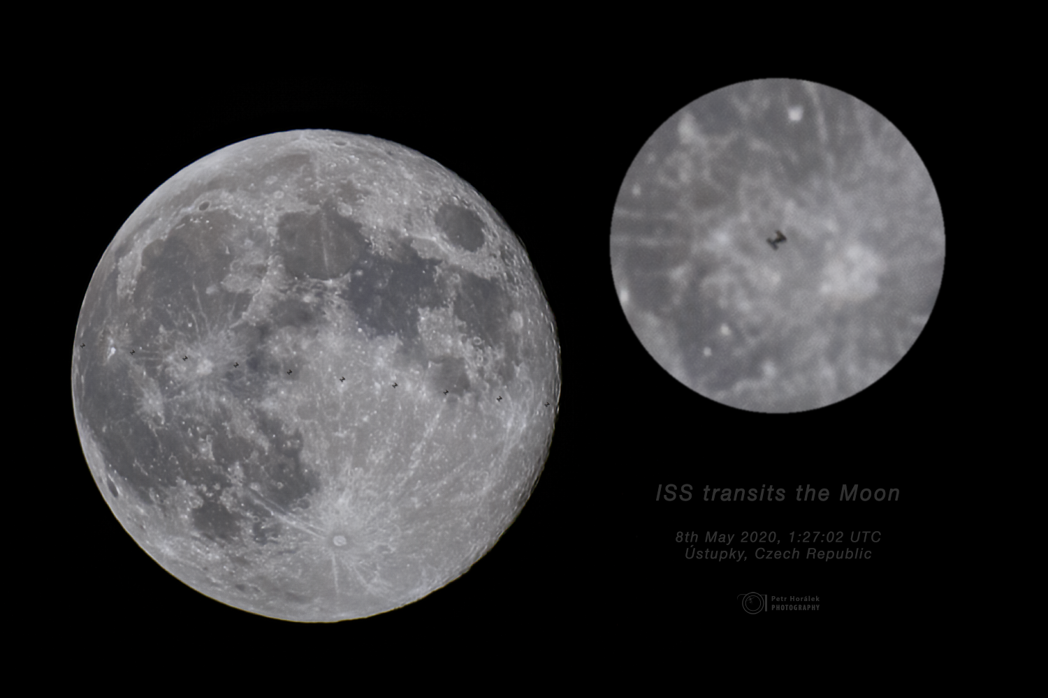 ISS transits the Perigee Moon